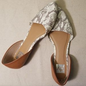 D'Orsay Snake Print Camel Brown Pointed Toe Flats